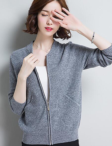 Women's Simple Jacket - Solid Colored Color Block