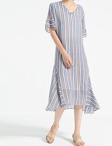 Women's Casual/Daily A Line Dress,Striped V Neck Midi Short Sleeves Cotton Polyester Summer Mid Rise Micro-elastic Medium