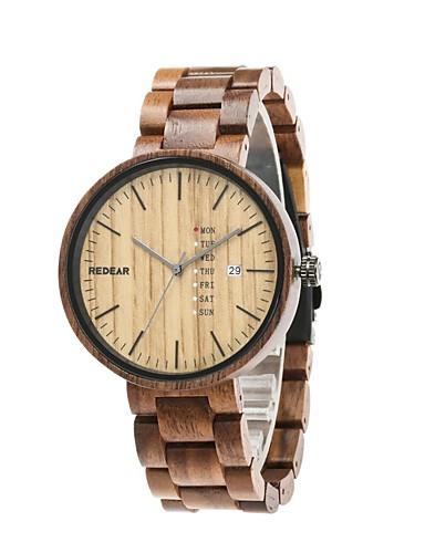 Homens Relógio Madeira Japanês Quartzo de madeira Madeira Banda Luxo Elegant Marrom Cáqui