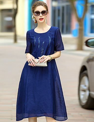 Women's Going out Cute Swing Dress,Print Round Neck Midi Half Sleeves Silk Summer Mid Rise Micro-elastic Medium