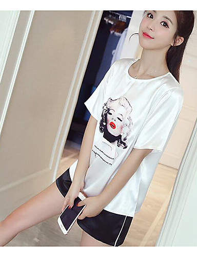 Women's Daily Casual Casual Summer T-shirt Pant Suits,Print Color Block Round Neck Short Sleeve Cotton Micro-elastic