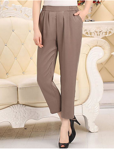 Women's Mid Rise Micro-elastic Chinos Pants,Simple Relaxed Solid