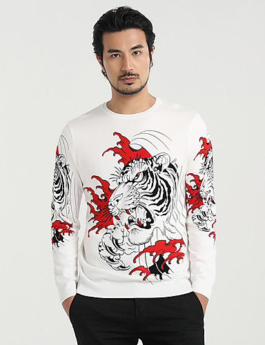 Men's Casual Regular Pullover,Print Round Neck Long Sleeves Polyester Spring Thin Micro-elastic