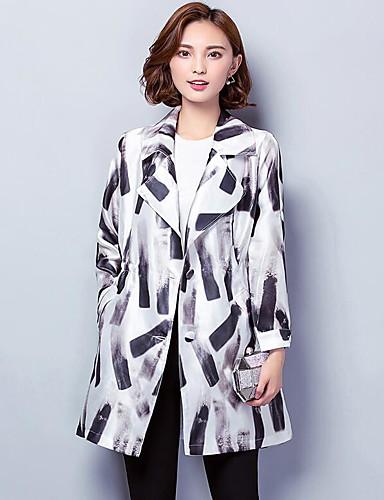 Women's Daily Casual Fall Coat,Print Notch Lapel Long Sleeve Regular Polyester