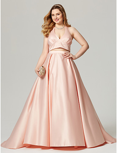 f6bf2d928c7 Plus Size A-Line Halter Neck Sweep   Brush Train Satin Open Back   Two  Piece Cocktail Party   Formal Evening Dress with Pleats by TS Couture®