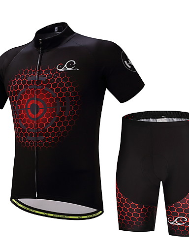 cheap Cycling Clothing-Men's Short Sleeve Cycling Jersey with Shorts Bike Clothing Suit Sports Polyester Lycra Honeycomb Mountain Bike MTB Road Bike Cycling Clothing Apparel