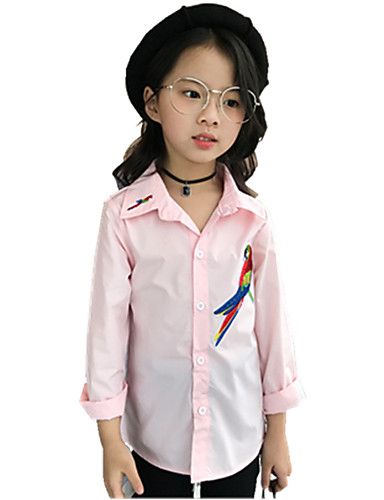 Girls' Print Embroidered Shirt,Cotton Fall All Seasons Long Sleeve Floral White Blushing Pink