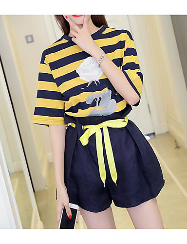 Women's Daily Modern/Contemporary Summer T-shirt Pant Suits,Lines / Waves Round Neck Short Sleeve 100% Cotton Micro-elastic
