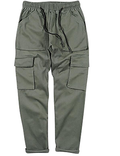 Men's Mid Rise Micro-elastic Chinos Pants,Simple Straight Solid
