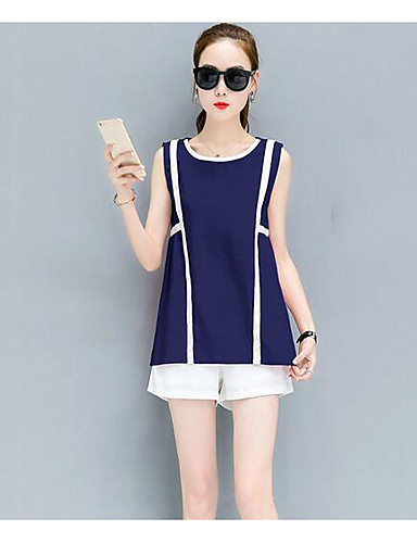 Women's Daily Casual Casual Summer Tank Top Pant Suits,Solid Striped Round Neck Sleeveless Flax Inelastic