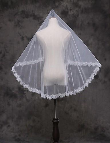 Uma Camada Borda com aplicação de Renda Véus de Noiva Véu Ruge / Véu Cotovelo / Véu Ponta dos Dedos Com Apliques Renda / Tule / Clássico