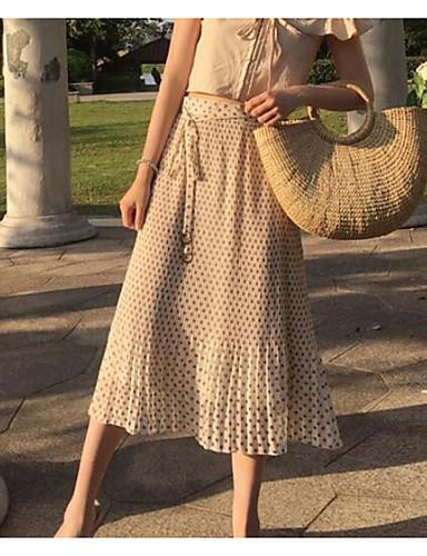 Women's Casual/Daily Midi Skirts Trumpet/Mermaid Polka Dot Summer