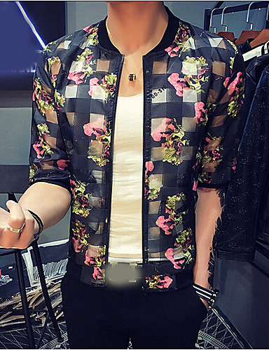 Men's Daily Casual Summer Jacket,Floral Round Neck 1/2 Length Sleeve Regular Polyester