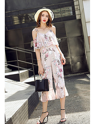 Women's Daily Casual Floral / Botanical Boat Neck Jumpsuits