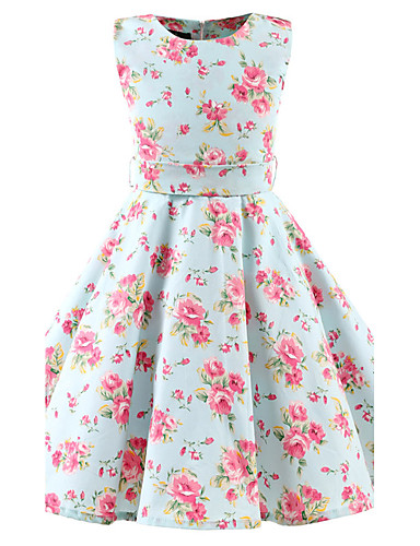 Girls' Floral Floral Sleeveless Dress / Cotton