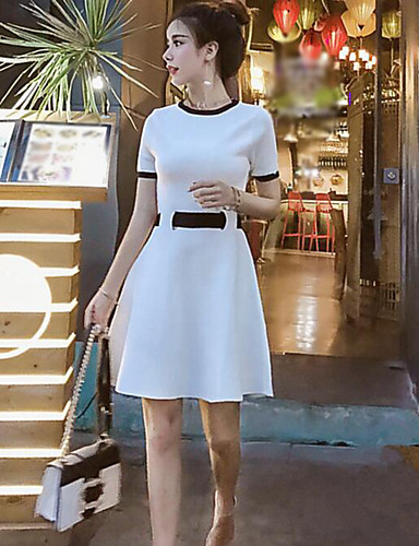 Women's Going out Cute A Line Dress,Solid Round Neck Above Knee Short Sleeves Cotton Summer Mid Rise Micro-elastic Medium