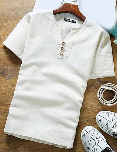 Bomull Kortermet,Rund hals T-skjorte Trykt mønster Vår Sommer Enkel Fritid/hverdag Herre