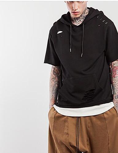 Bomull Lin Medium Kortermet,Med hette T-skjorte Ensfarget Stripet Trykt mønster Sommer Høst Enkel Gatemote Aktiv Sport Ut på byen