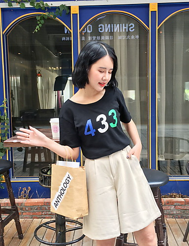 Naiset Lyhythihainen Pyöreä kaula-aukko Puuvilla Vintage T-paita,Yhtenäinen