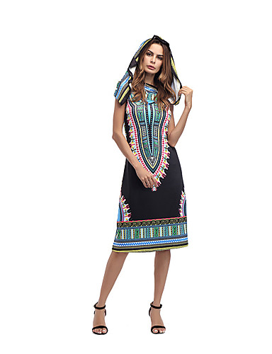 Women's Daily Holiday Going out Club Beach Vintage Sexy Sophisticated Bodycon Sheath Dress,Print Hooded Midi Sleeveless Polyester Summer