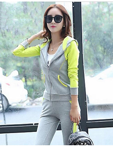 Women's Daily Casual Fall Hoodie Pant Suits,Solid Color Block Hooded Long Sleeve Others Micro-elastic
