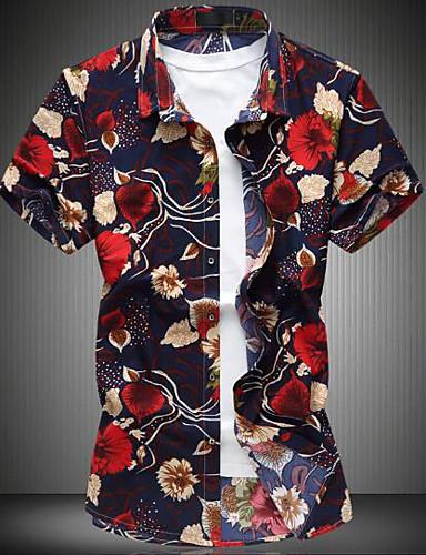 Bomull Lin Annet Kortermet,Skjortekrage Skjorte Ensfarget Blomstret Trykt mønster Enkel Fritid/hverdag Arbeid Herre