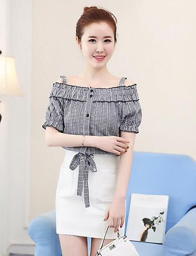 Women's Daily Casual Casual Summer T-shirt Skirt Suits,Solid Striped Strap Short Sleeve Others Micro-elastic