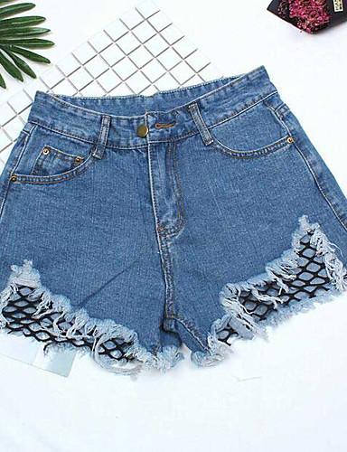 Dame Sexy Mikroelastisk Jeans Shorts Bukser,Tynn Høyt liv Ensfarget