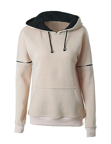 Women's Daily Hoodie Solid Hooded Inelastic Cotton Long Sleeve Fall