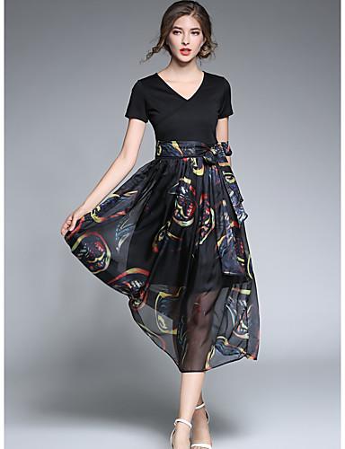 SHE'SWomen's Daily Work Vintage Sophisticated A Line DressSolid Black & White Round Neck Knee-length Sleeveless Polyester SummerMid