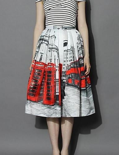 פרחוני - חצאיות כותנה גזרת A בגדי ריקוד נשים