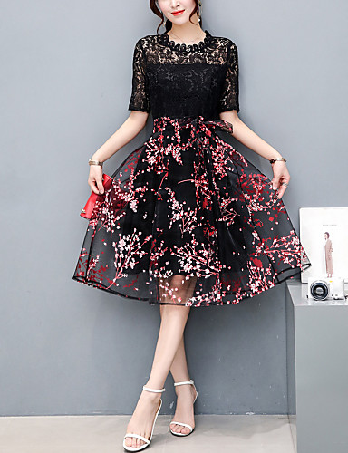 Women's Going out A Line / Lace Dress - Patchwork / Embroidered Lace / Pleated / Mesh High Rise / Summer