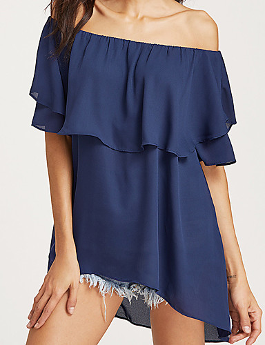 Women's Going out Street chic Petal Sleeve Blouse - Solid Colored Ruffle Boat Neck
