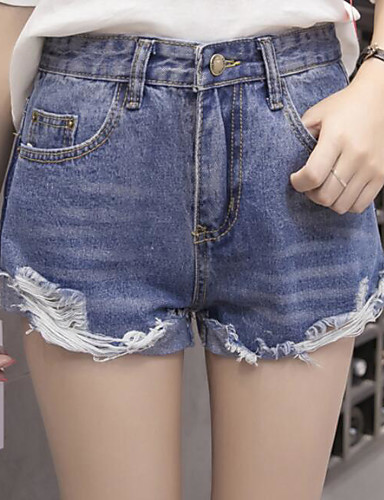 Women's Mid Rise Micro-elastic Jeans Shorts Pants,Simple Straight Solid