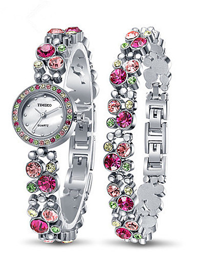 Women's Fashion Watch Quartz Alloy Band Silver Gold Pink