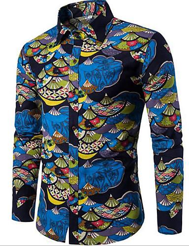 Men's Cotton Shirt - Geometric Print / Long Sleeve