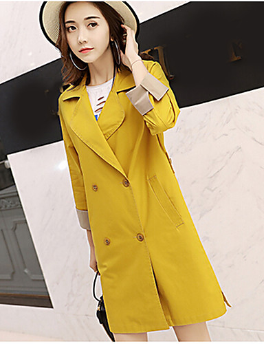 Women's Daily Casual Fall Coat,Solid Shawl Lapel Long Sleeve Long Polyester