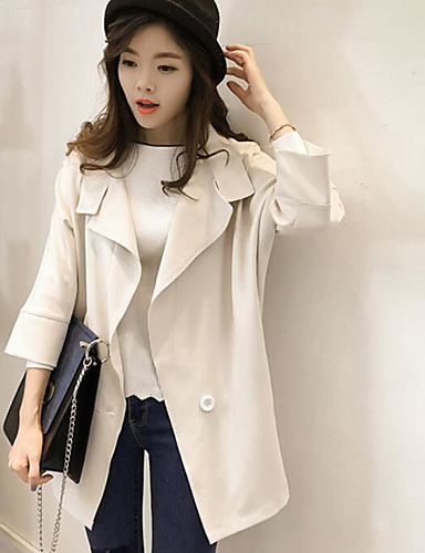 Women's Daily Birthday Party Casual Spring Fall Coat,Solid V Neck 3/4 Length Sleeve Regular Rayon