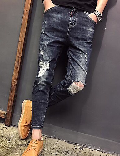 Men's Mid Rise strenchy Straight Pants,Street chic Vintage Straight Pure Color Denim Ripped Solid Jeans
