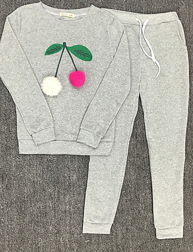 Women's Going out Holiday Street chic Hoodie Print Pant