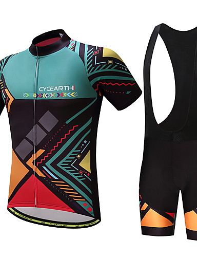 cheap Cycling Clothing-Men's Cycling Jersey with Bib Shorts - Green Bike Clothing Suit Sports Patterned Mountain Bike MTB Road Bike Cycling Clothing Apparel