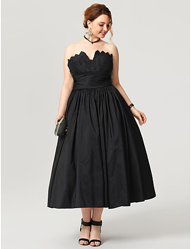 Plus Size Ball Gown Notched Tea Length Taffeta Little Black Dress / Open Back Prom / Formal Evening Dress with Sash / Ribbon / Ruched / Pleats by TS Couture®