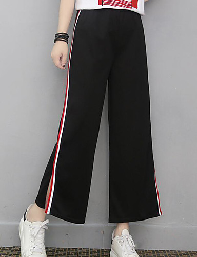 Women's Mid Rise Inelastic Culotte Pants,Simple Wide Leg Striped