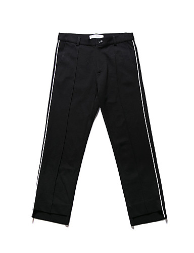 Men's Mid Rise Micro-elastic Active Pants,Active Simple Straight Print