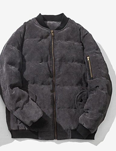 Men's Padded Coat,Simple Active Daily Casual Solid Pattern-Cotton Polyester Polyester Cotton Long Sleeve