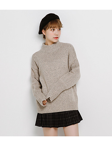 Women's Going out Casual/Daily Simple Regular Pullover,Solid Round Neck Long Sleeves Cotton Fall Medium Micro-elastic