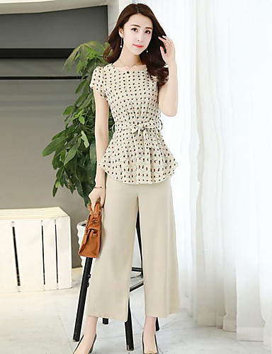 Women's Daily Contemporary Summer T-shirt Pant Suits,Floral Round Neck Short Sleeve