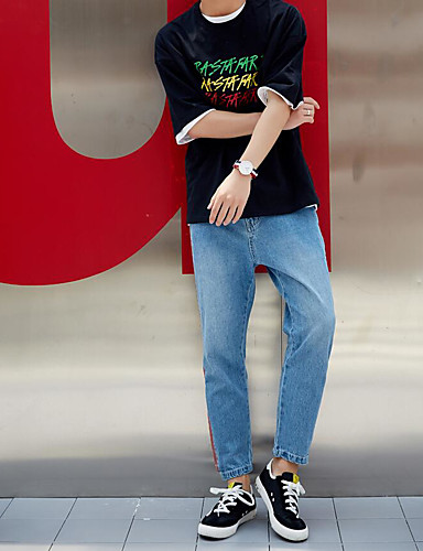 Herre Enkel Mikroelastisk Jeans Bukser,Tynn Mellomhøyt liv Ensfarget Stripet