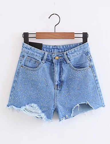 Women's Mid Rise Micro-elastic Jeans Shorts Pants,Street chic Loose Solid