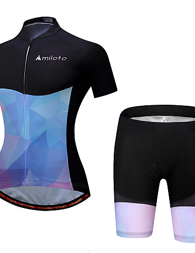 cheap Cycling Clothing-Miloto Women's Short Sleeve Cycling Jersey with Shorts - Bule / Black Gradient Plus Size Bike Padded Shorts / Chamois Clothing Suit Sports Polyester Spandex Gradient Mountain Bike MTB Road Bike